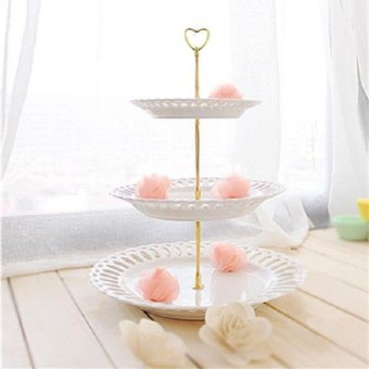 3 Tier Heart Shape Metal Fruit Cake Plate Stand Handle Fitting Wedding Party - intl