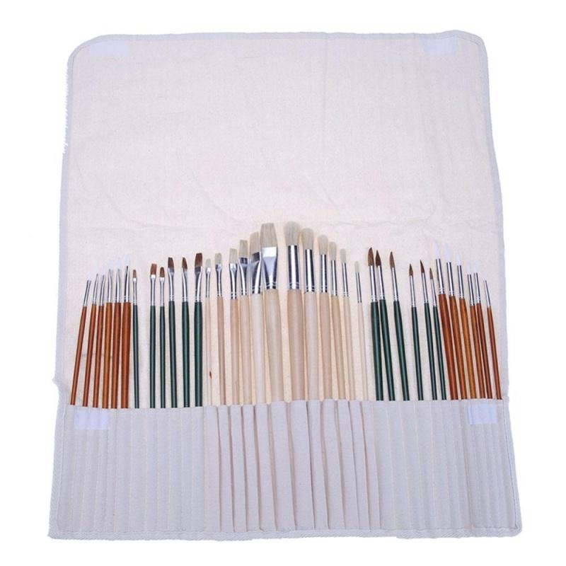 Mua 36pcs Aluminum Tube Paint Brush Set with Cloth Pen Curtain - intl