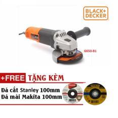 4/100MM Máy mài góc 650W Black&Decker G650-B1 (Tặng kèm đá cắt Stanley và đá mài Makita 100mm)