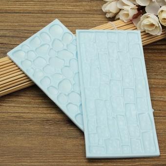 4Pcs Wood Grain Stone Wall Pattern Embossing Mold Fondant Cake Decorating Mould - intl