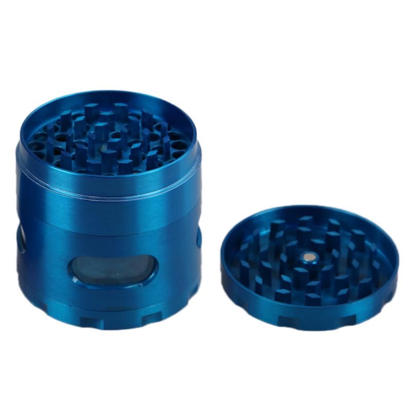 55mm Zinc Alloy Hand Crank Herb Mill Crusher Blue - intl