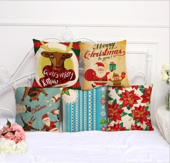 5PCS Cotton Linen Waist Cushion Pillow Cover Pillowcase Christmas Decorative - intl