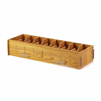 8 Compartment Detachable Wooden Grain Design Office Desk BusinessCard Storage Box Case Visiting Card Organizer Tray Holder (Brown) -intl