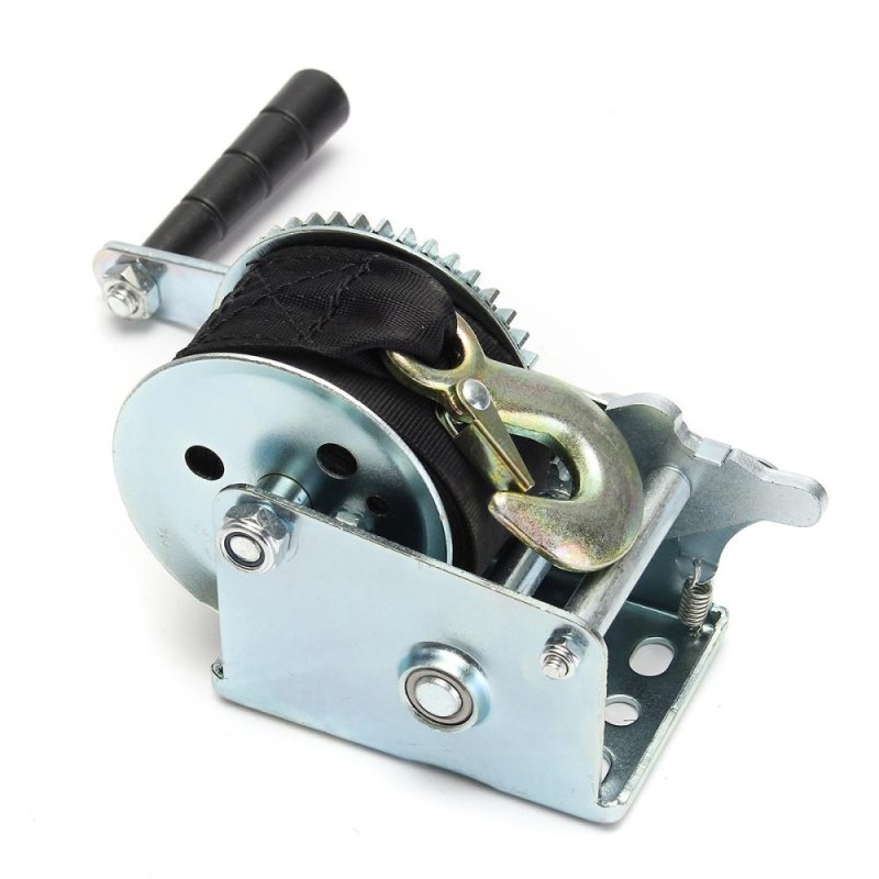 800lbs Heavy Duty Manual Hand Crank Strap Gear Winch For Car Truck Boat Trailer - intl