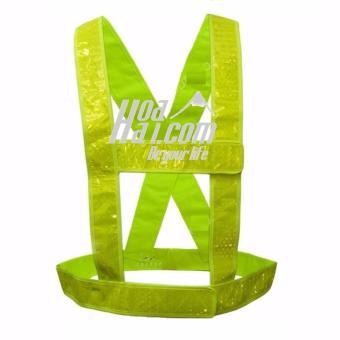 Áo dây phản quang đi phượt vải nhựa cao cấp HOAHAI.COM (xanh)