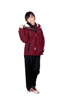 Áo mưa bộ màu đỏ mận K18