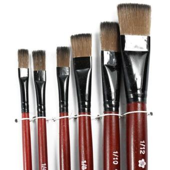 Art Artist Supplies 6 Brown Nylon Paint Brushes (Intl)