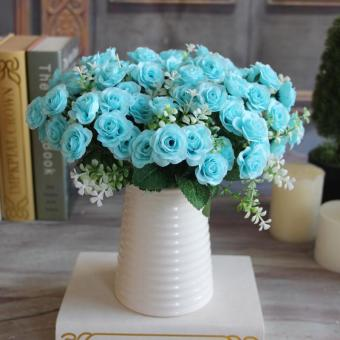 Aukey 15 Buds Mini Rose Artificial Silk Flower Decoration PartyDecal(Blue)
