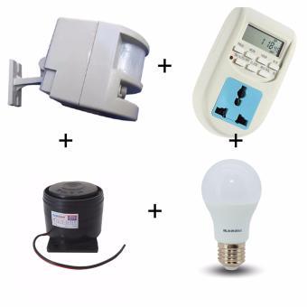 Báo trộm hồng ngoại kết hợp đèn còi HT1A-AL06