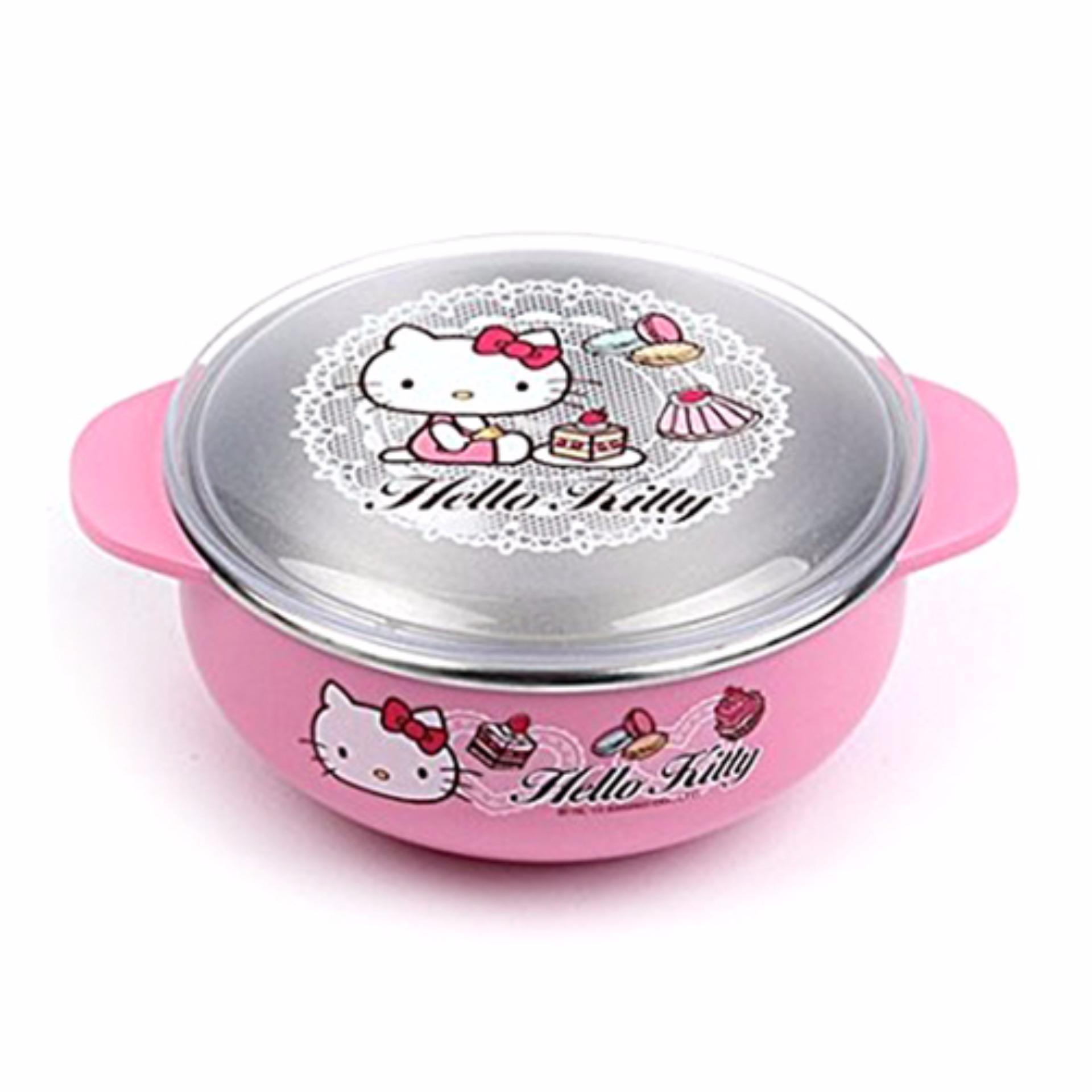 Bát ăn cho bé có nắp đậy L&L Hello Kitty 131x105x55mm - Màuhồng - LKT479