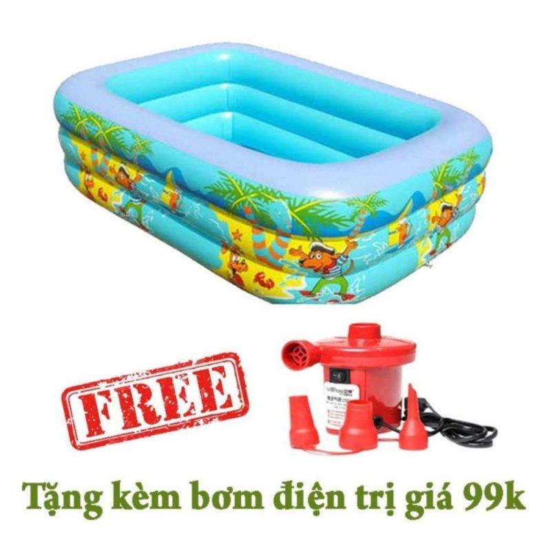 Bể bơi 3 tầng swimming pool 150x100x50 tặng kèm bơm hơi điện