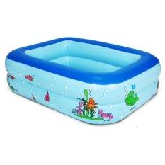 Bể Bơi Bơm Hơi 2 Tầng Cho Trẻ Em Tập Bơi 120x90x35cm Màu Xanh