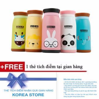 Bình giữ nhiệt 350ml cao cấp hình thú + Tặng kèm 1 thẻ tích điểm KoreaStore