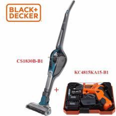 Black+Decker - CS1830B-B1 Máy hút bụi 18v dùng pin không dây + 4.8V Máy vặn vít dùng pin Black+Decker / Có hộp / KÈM phụ kiện kèm theo CS1830B-KC4815KA15
