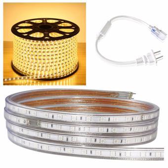 Bộ 10 mét đèn Led dây 5050/220V 1 màu (ánh sáng vàng ) và 1 đầu nối dây nguồn