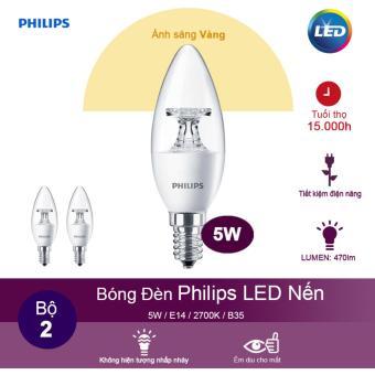 (Bộ 2) Bóng đèn Philips LED Nến 5.5W 2700K đuôi E14 230V B35 - Ánh sáng vàng