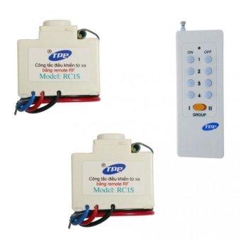 Bộ 2 công tắc điều khiển từ xa sóng RF TPE RC1S + Remote 16 nút RM01