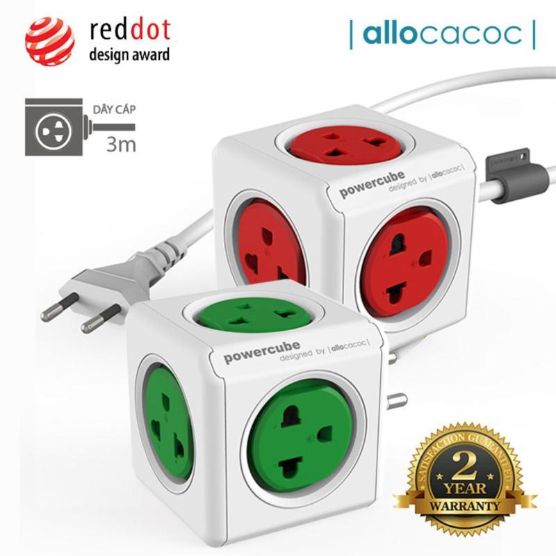 Bảng giá Bộ 2 Ổ Cắm Điện Allocacoc PowerCube Extended + Original 10 Ổ Cắm Dây Cáp 3m - Hàng Nhập Khẩu