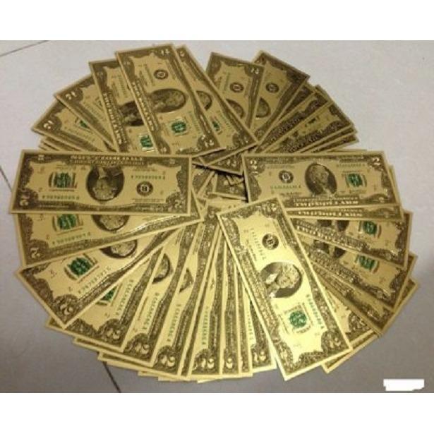 Bộ 2 tiền mạ vàng 2 đô la