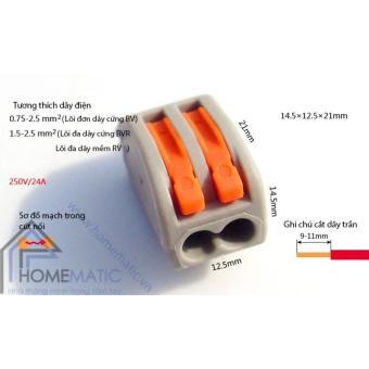Bộ 20 chiếc cút nối dây điện KV774 - 2 cổng - 2