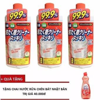 Bộ 3 chai dung dịch vệ sinh lồng máy giặt Nhật Bản (550g/Chai x 3) + Tặng nước rửa chén, bát, củ quả Nhật bản Papai 600ml