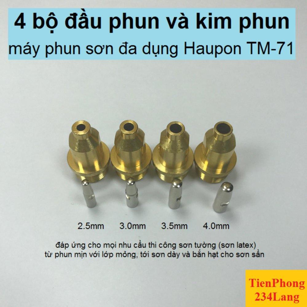 Bộ 4 cỡ đầu phun/kim phun máy phun sơn Haupon TM-71: 2.5-3.0-3.5-4.0mm