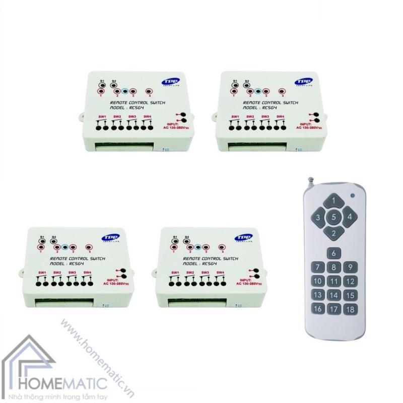 Bộ 4 công tắc điều khiển từ xa 4 thiết bị TPE RC5G4 + Remote 18 nút R3.4