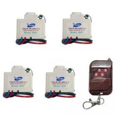 Bộ 4 công tắc điều khiển từ xa IR + RF TPE RI01 + Remote RF vỏ vân gỗ R1VG315