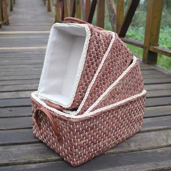Bộ 4 giỏ đựng đồ bằng bột ngô khô (nâu)