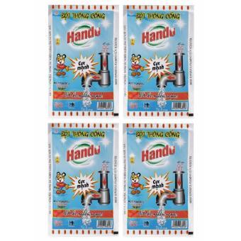 Bộ 4 gói bột thông cống nội địa Hando 100g (Xanh)