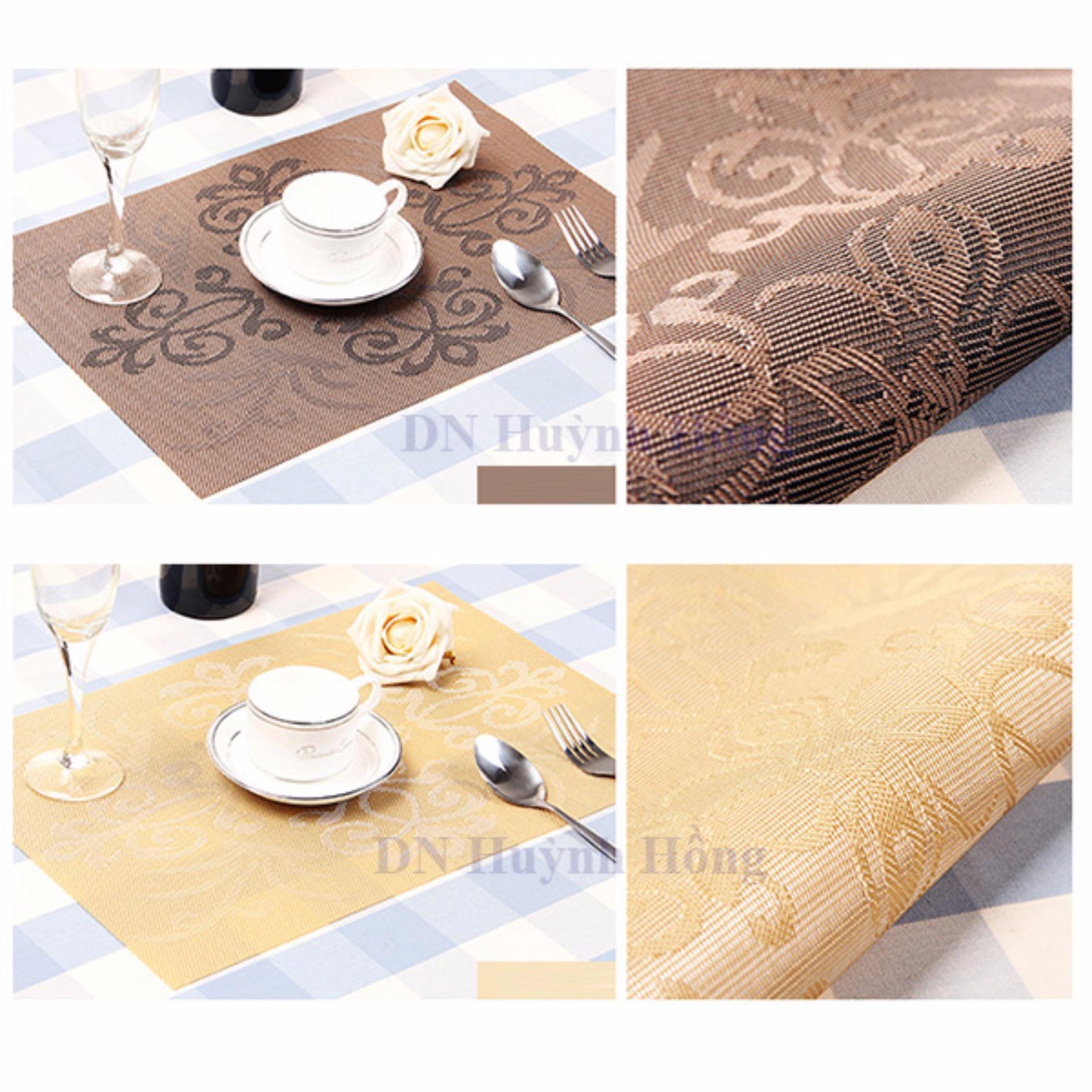 Bộ 4 khăn lót chén dĩa hoa văn cổ điển (Xám)