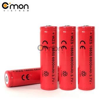 Bộ 4 pin sạc li-ion 18650 6800mAh 3.7V (dùng cho đèn pin - đỏ)