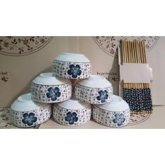 Bộ 6 bát đũa hàng xuất Nhật cao cấp (Hoa đào)
