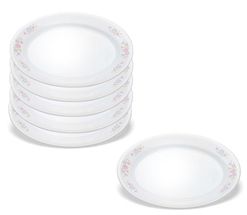 Bộ 6 đĩa oval thuỷ tinh Corelle 6950-FSY-LP + Tặng tô thủy tinh Corelle (950ml)