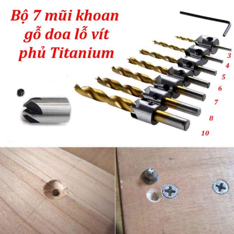 Bộ 7 mũi khoan gỗ doa lỗ vít phủ titanium