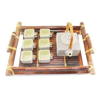 Bộ ấm chén vuông 350ml kèm khay tre Bát Tràng-01 (Ghi đá)