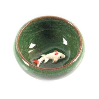 Bộ ấm trà ngọc hình cá 3D cao cấp Fiamma (Xanh đá)