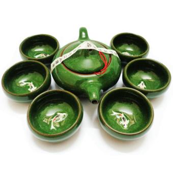 Bộ ấm trà ngọc hình cá 3D cao cấp ichibai (Xanh đá)
