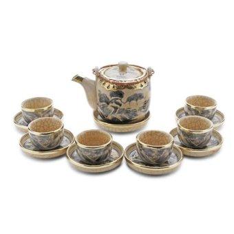 Bộ ấm và tách trà men rạn giả cổ bộc đồng Bát Tràng 0.5l