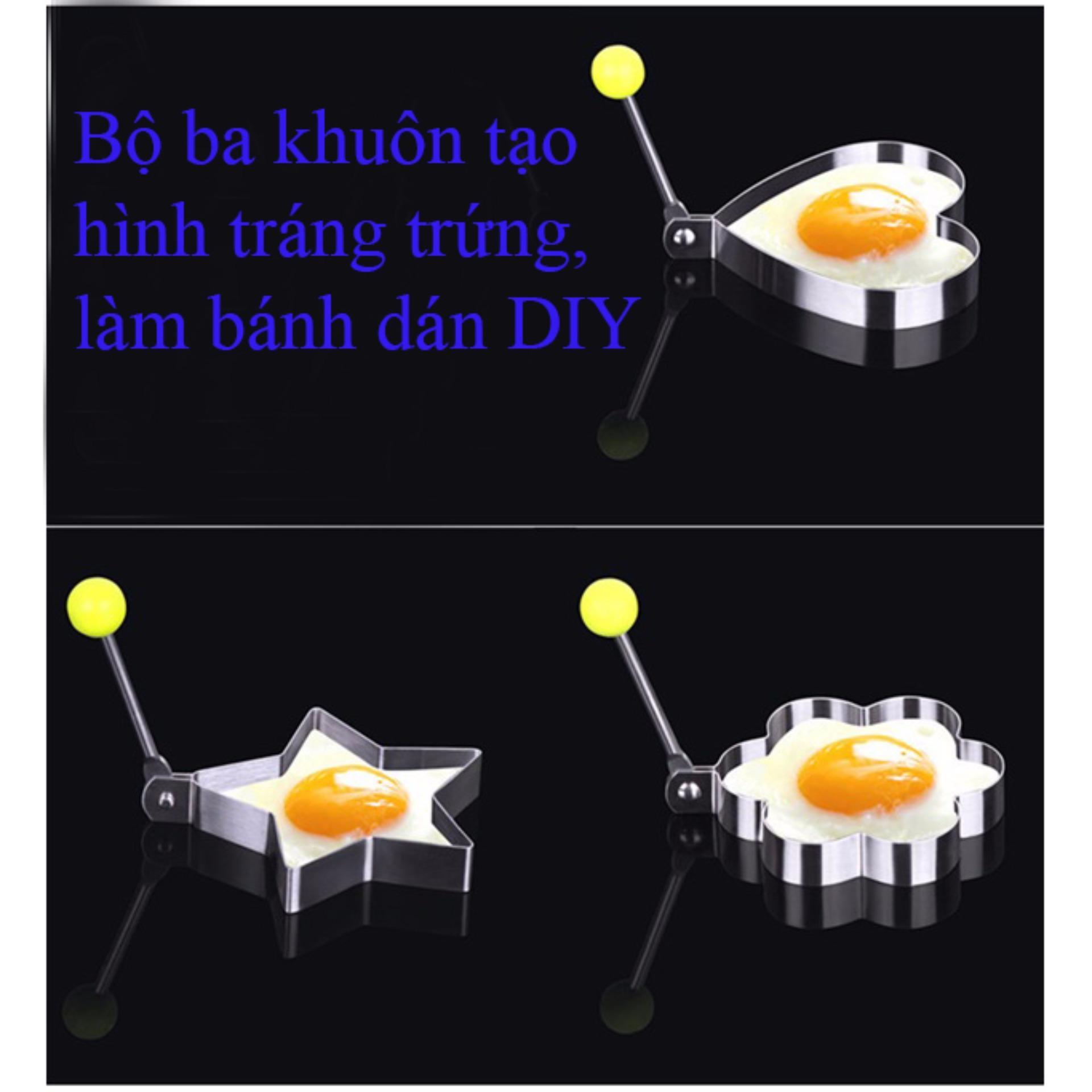 Bộ ba khuôn tạo hình tráng trứng, làm bánh dán DIY