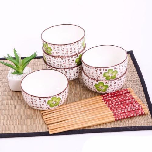 Bộ chén đũa xuất Nhật Camellia (6 Chén + 6 đôi đũa)