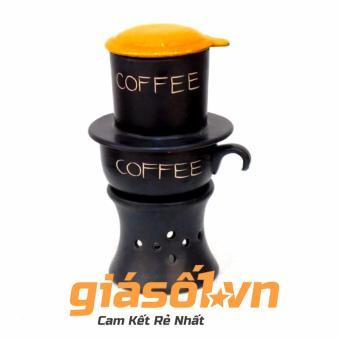 Bộ cốc cà phê liên phin sứ chân lò Bát tràng (cam đen)