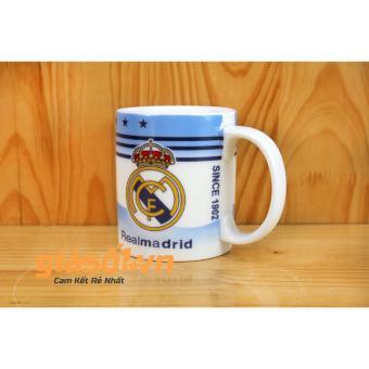 Bộ cốc uống nước + nắp hình câu lạc bộ bóng đá Realmadrid - 350ml Bát Tràng