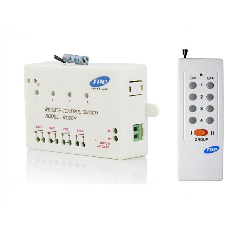 Bộ công tắc điều khiển từ xa 4 thiết bị sóng RF TPE RC5G4 + remote 16 nút RM01