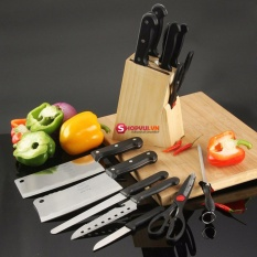 Bộ dao kéo nhà bếp 7 món thép không gỉ kèm kệ cài tiện dụng