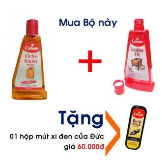 Bộ Dầu đánh bóng gỗ 150ml và Sữa làm sạch, dưỡng mềm da thật, 250mltặng kèm 01 hộp mút đánh giày xi đen tiện dụng, 100% hàng Đức