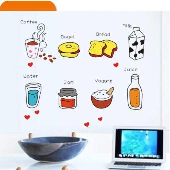 Bộ decal dán tủ lạnh - tủ bếp dễ thương - Bữa sáng ngọt ngào