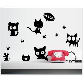 Bộ decal dán tường Hàn Quốc black&white cá tính- Mèo con tinhnghịch
