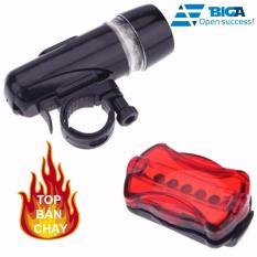 Bộ đèn pin gắn xe đạp và đèn chiếu hậu 5 LED WJ-101 (Đen đỏ)