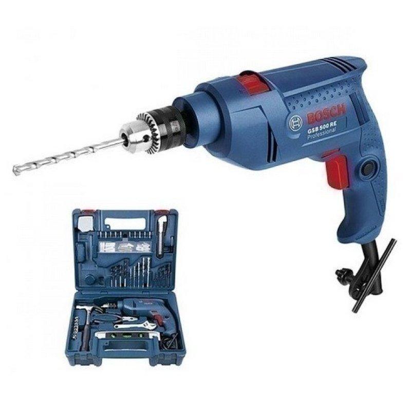 Bộ dụng cụ 100 chi tiết + Máy khoan Bosch GSB 500 RE